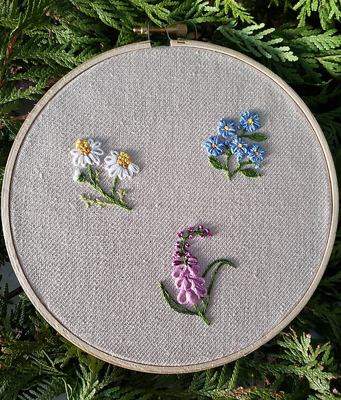 Fairytale Flowers Beginner Embroidered Kit by Life of Thread