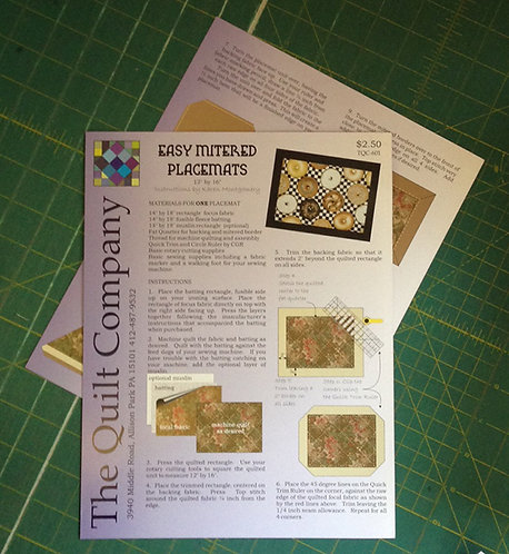 Easy Mitered Placemat Pattern Sheet
