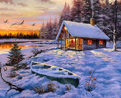 Snowy Log Cabin Panel by David Textiles - AL3830-9C