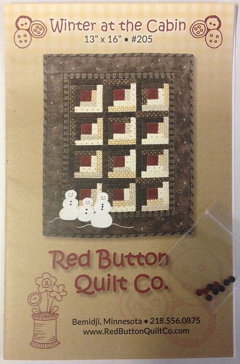 """Winter at the Cabin Wallhanging Pattern w/buttons - 13"""" x 16"""""""