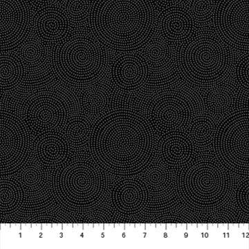 Simply Neutral 2 by Northcott - Circles - Grey on Black 23918-98