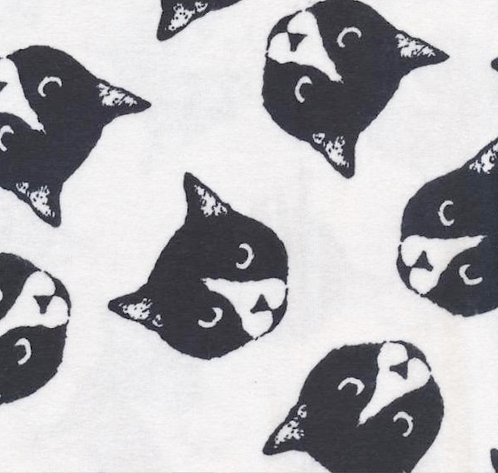Cat Faces on Flannel - Blk/Wht