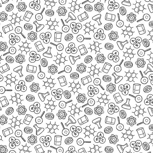 It's Elementary by Rosemarie Lavin - Windham Fabrics - Science Symbols on White
