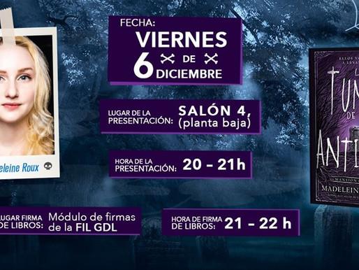 Presentación y firma de libros de Madeleine Roux, en la Feria Internacional del libro de Guadalajara