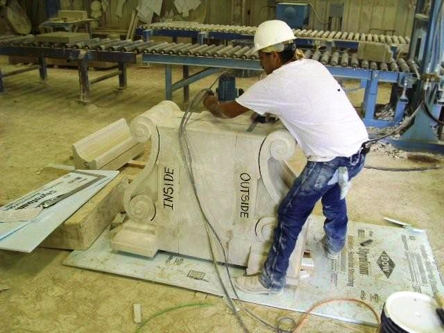 worker carving