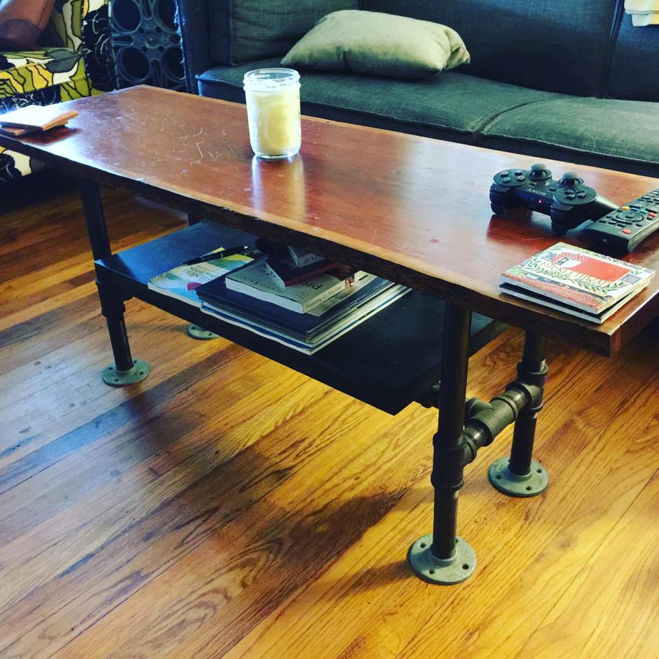 Live Edge Cherrywood Industrial Coffee Table