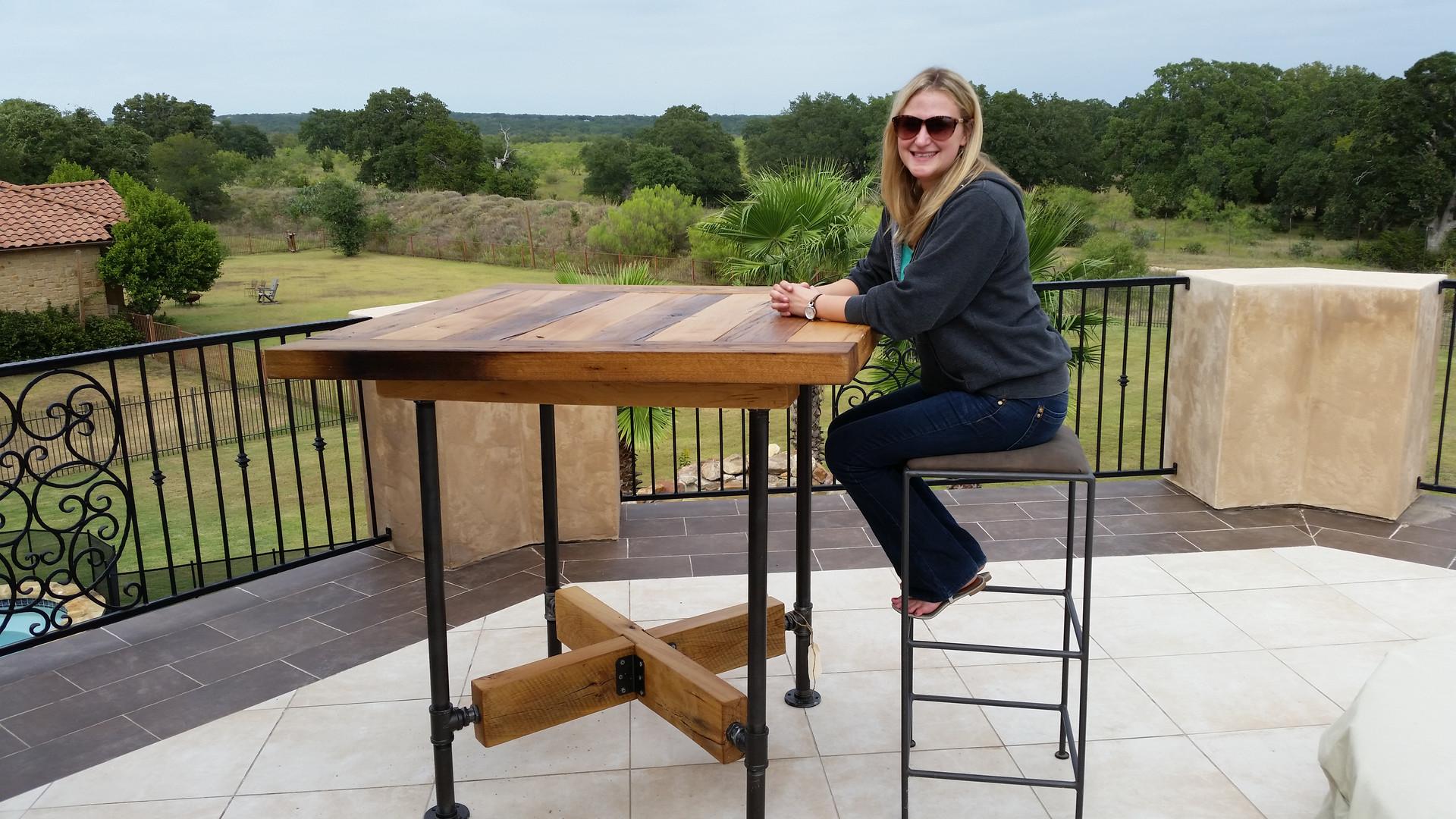 Reclaimed Oak Barn Beam Industial Bar Table