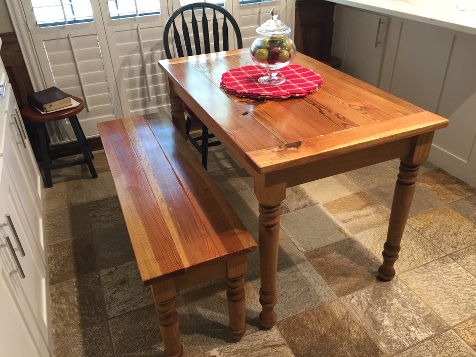 Reclaimed Heartpine Table and Bench