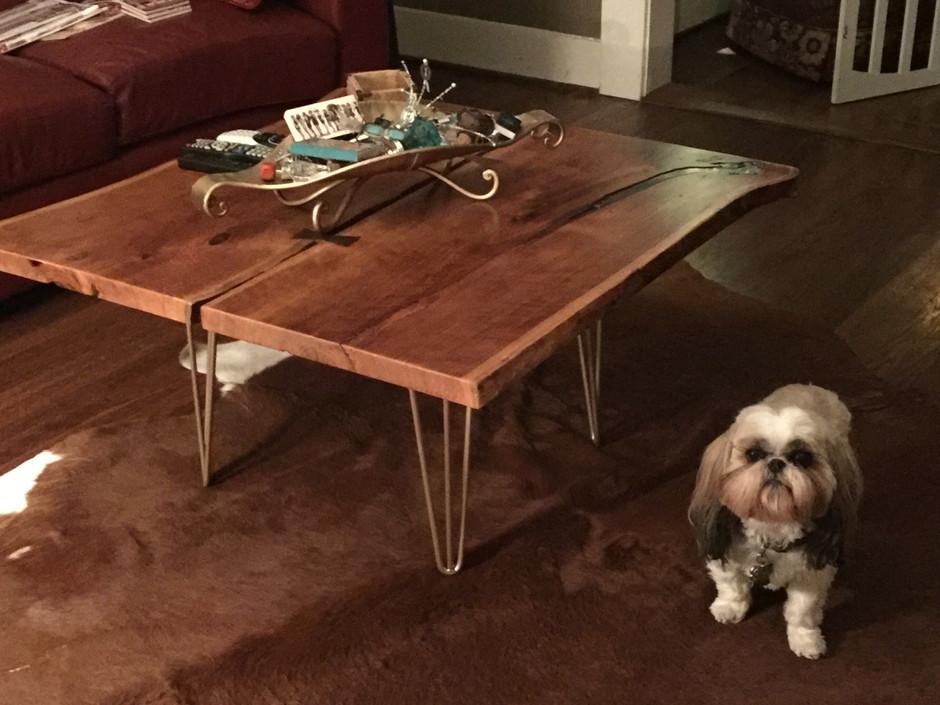 Dual Cherry Slab coffee table