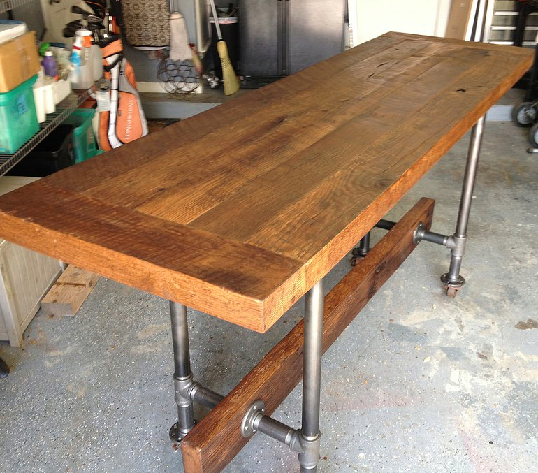 Reclaimed Oak Bar Industial Table