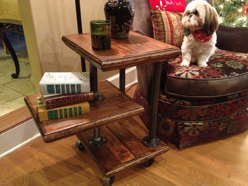 Reclaimed pine industrial side table
