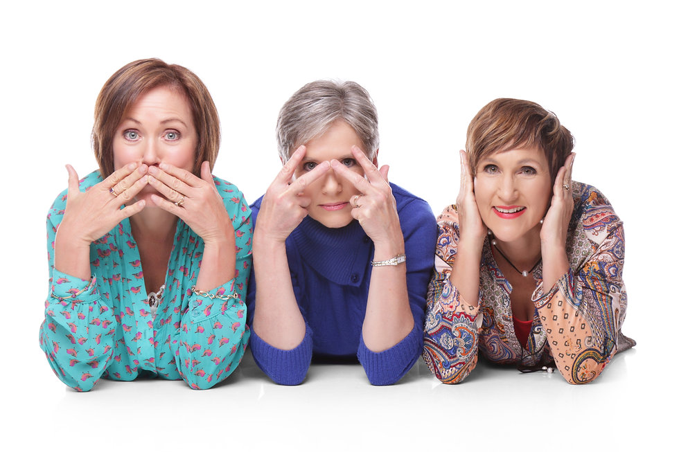Three ladies in the deaf, dumb, and silent mode.