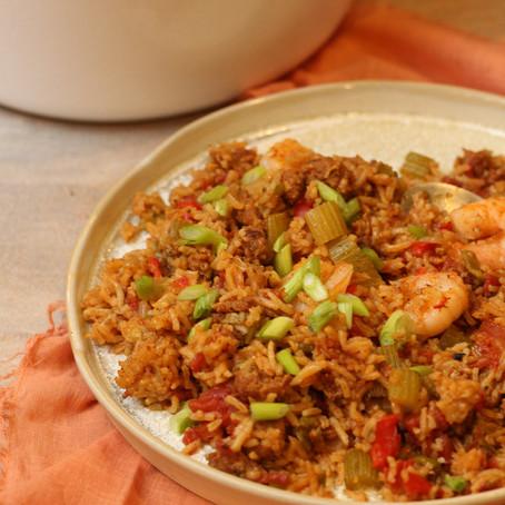 One Pot Shrimp and Chorizo Jambalaya
