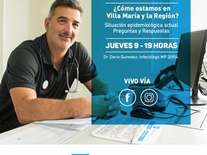 Agenda: Jueves 9 a las 19 h - COVID 19 en Villa María y la Región.