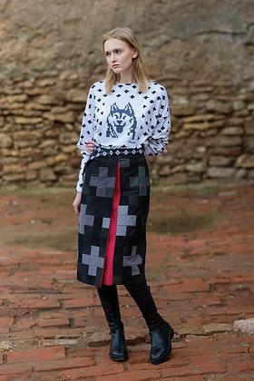 Katré cross-patterned patchwork skirt