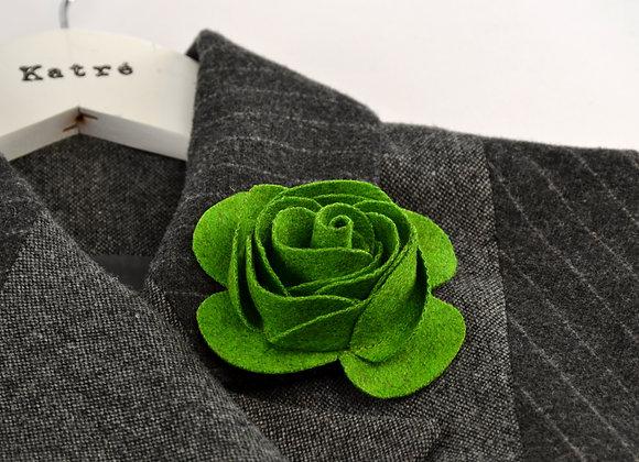 Green Wool Felt Rose
