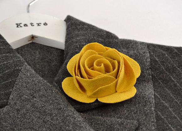 Yellow Wool Felt Rose