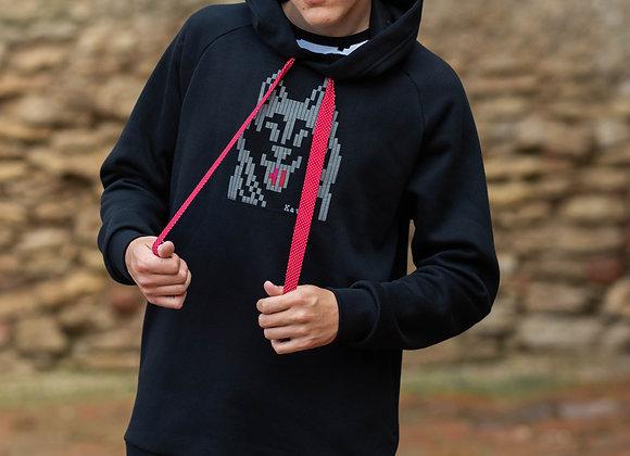 UNISEX hooded sweater PIXEL DOG - HUSKY