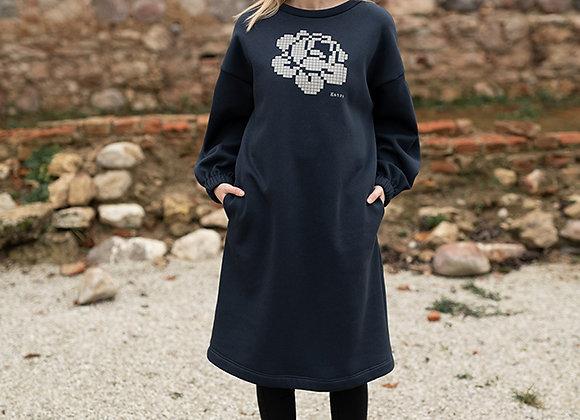 Women's sweater dress big rose DARK BLUE