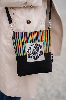 ROOSI Black & Stripes Small Crossbody Bag