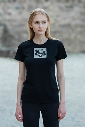 Women's shirt with a fitting line and white rose