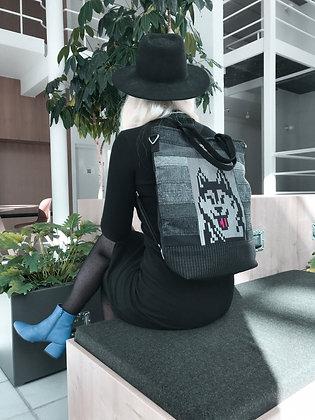 husky pixel dog bag seljakott