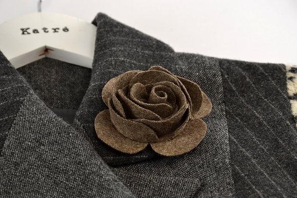 Brown Wool Felt Rose