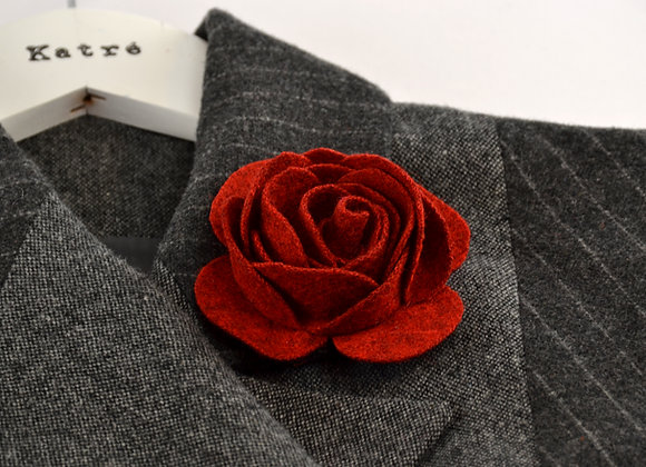 Dark Red Wool Felt Rose