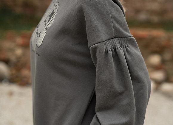 Women's sweater dress big rose GRAY