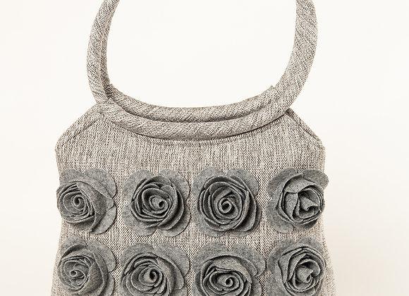 MILLA Light Grey Big Felt Roses handbag