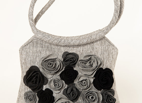 MILLA Light Grey Big with Black & Grey Felt Roses handbag