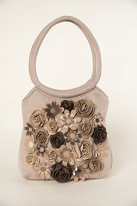 MILLA Beige Big with Felt & Leather Roses handbag