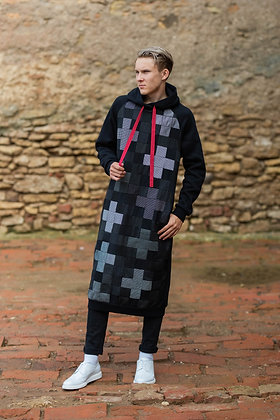 Katré cross-patterned patchwork UNISEX sweater with hood