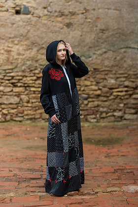 Katré patchwork coat with a large red rose