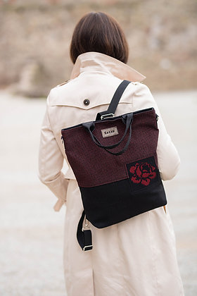 KARMEN Black & Red 3in1 - backpack / crossbody bag / handbag