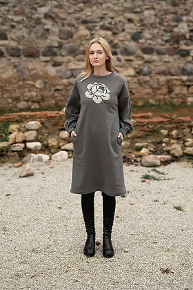 Women's sweater dress big rose GRAY