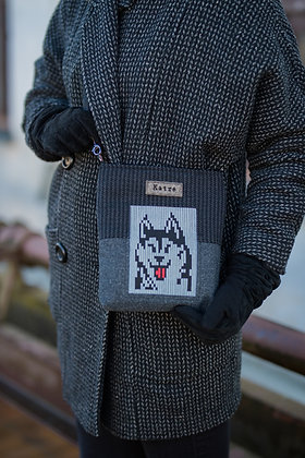 Small PIXEL DOG BAG Husky Positive