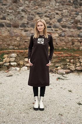 Women's sweater dress BROWN