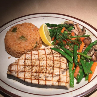 Grilled Wild Caughet Pacific Swordfish Steak with Vegetables and Rice