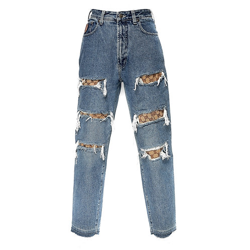 Authentic Gucci Details On Denim Jeans