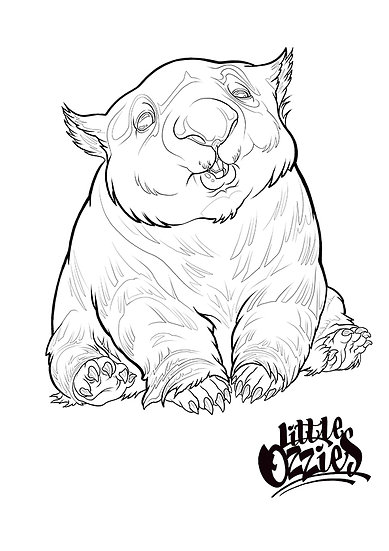 Print and colour Wombat