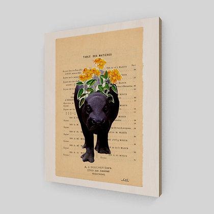 L'hippopotame, cet animal féroce - Sur bois