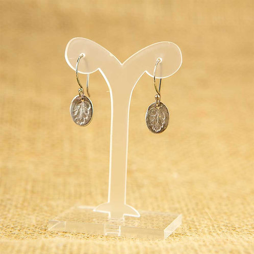 Silver leathery shield fern imprint Earrings