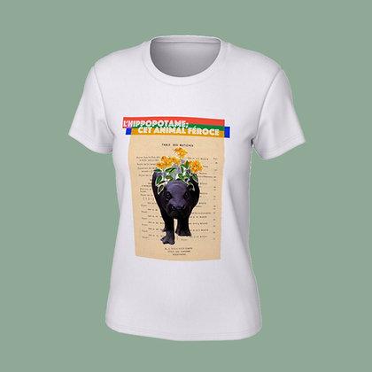 T-Shirt femme - L'hippopotame, cet animal féroce