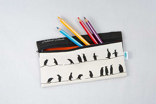 Pencil case – Penguins on a wire