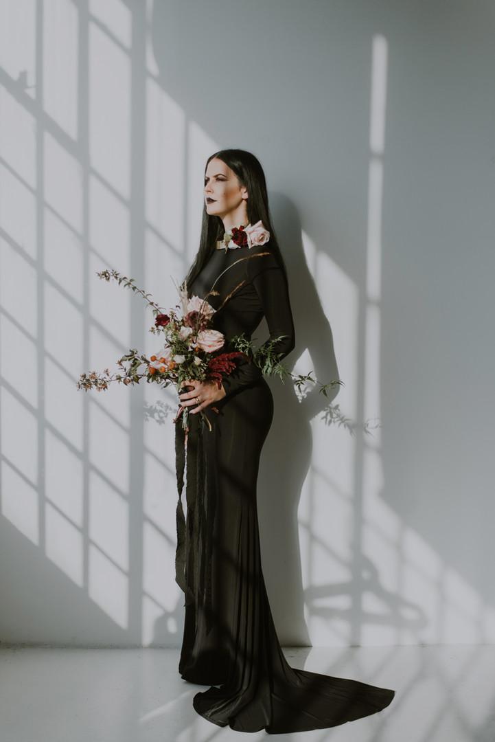 Gothic Bride in Black Dress