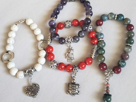 Gemstone Stretch Charm Bracelets -