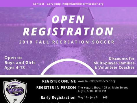 2018 Fall Rec Soccer Registration Is Open