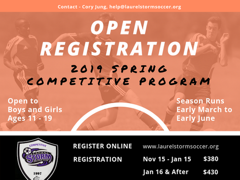 Spring Competitive Soccer Registration is Now Open!!!