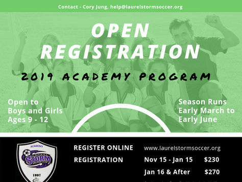 Academy Program Registration is Now Open!!!